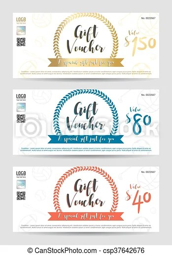 Gift certificate, gift voucher, gift card template in sport theme