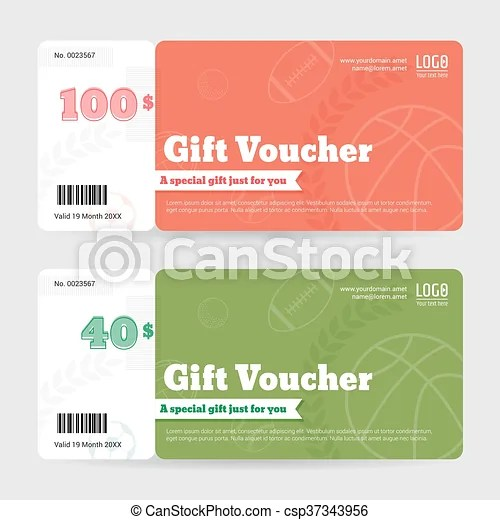 Gift certificate, voucher, coupon template in sport theme