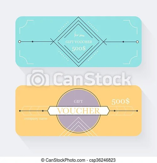 Gift voucher template gift certificate background design vector - coupon voucher template