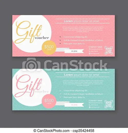 Gift voucher template with colorful pattern, gift certificate