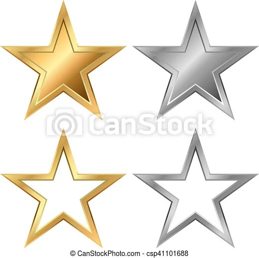 Gold and silver stars vector template isolated on white background