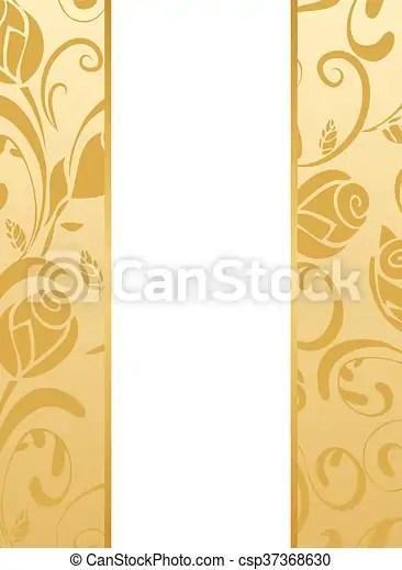 Gold floral wedding invitation Vector wedding invitation background