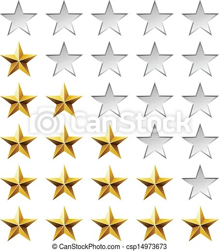 Golden stars rating template isolated on white background vectors - stars template