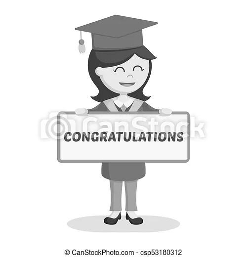 Graduate female student with congratulation sign