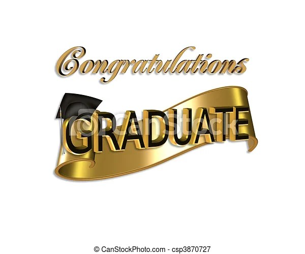 Graduation congratulations Gold and black digital art with 3d gold