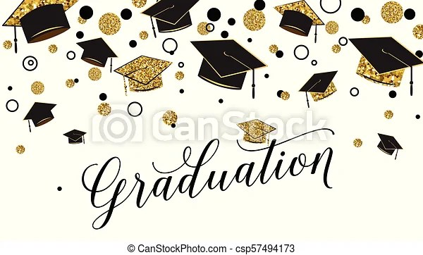 Graduation word with graduate cap, black and gold color, glitter