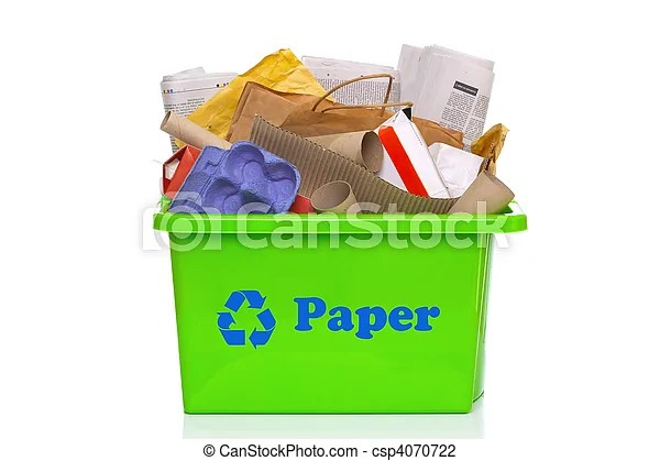 Green Paper Recycling Bin Isolated On White Photo Of A
