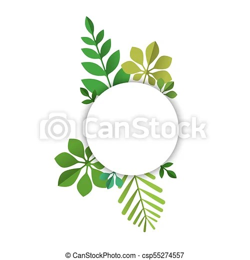 Green tropical leaf sign template for text label Empty card with