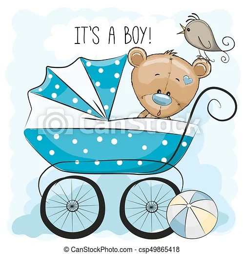 Greeting card its a boy with baby carriage and teddy bear