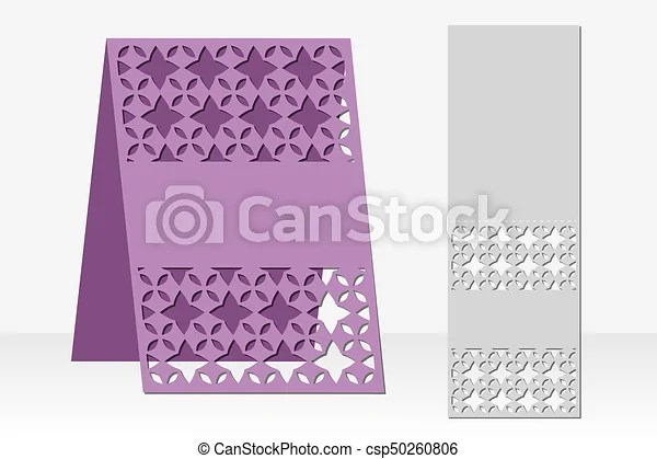 Greeting card laser cutting silhouette design ethnic vector
