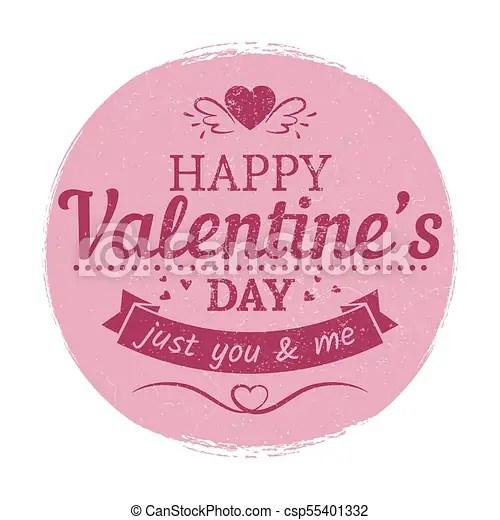 Grunge vintage valentines day label - love card template love