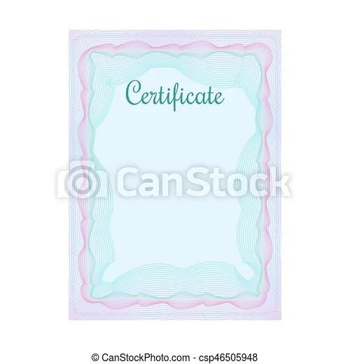 Guilloche official blue certificate with frame Blue vertical