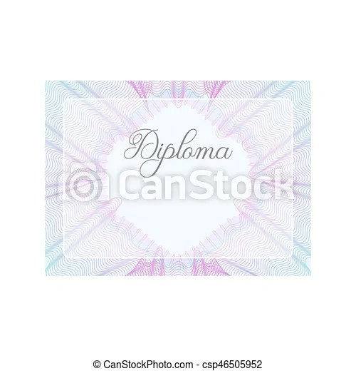 Guilloche official pink certificate with frame, horizontal Pink and