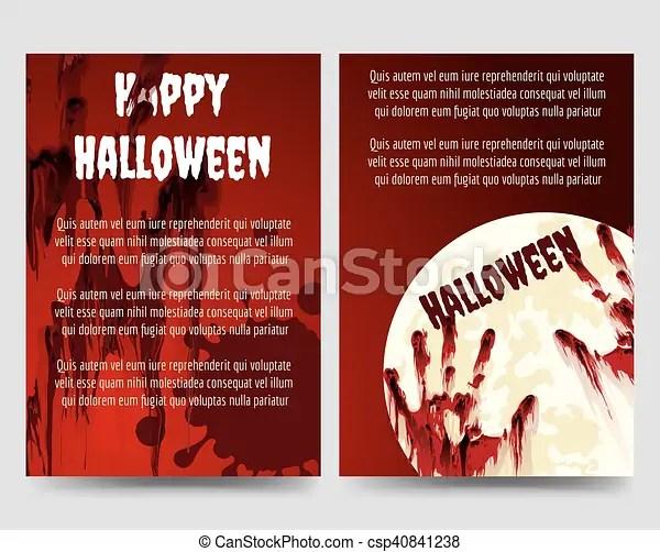 Halloween flyer template with bloody handprints Halloween brochure