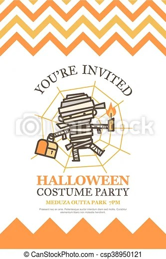 Halloween invitation card for costume night party cute kid cartoon