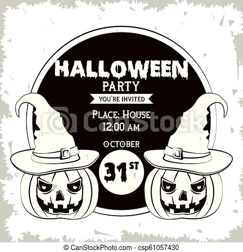 Halloween party invitation card in black and white Halloween party