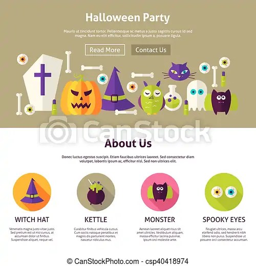 Halloween party web design template flat style vector illustration