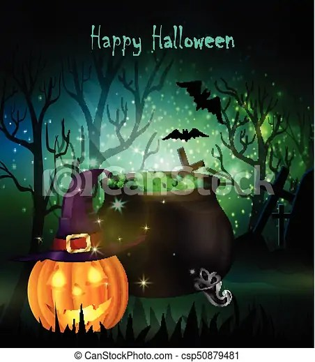 Halloween spooky background with witch cauldron hat and pumpkin vector
