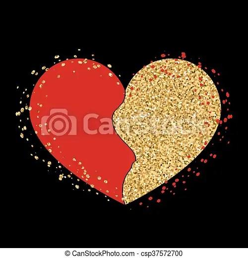 Halves gold heart icon golden red splash Halves gold heart icon