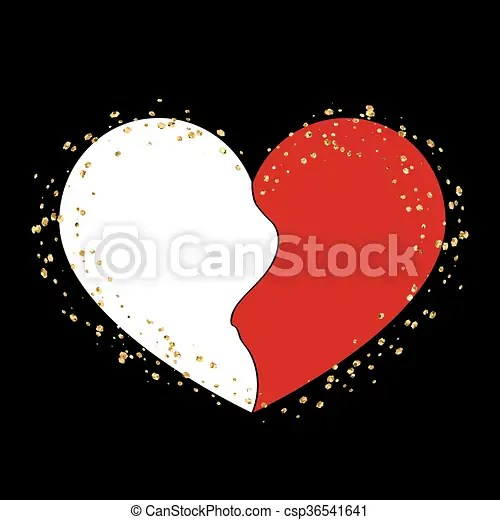 Halves gold heart icon golden splash Halves red and white heart