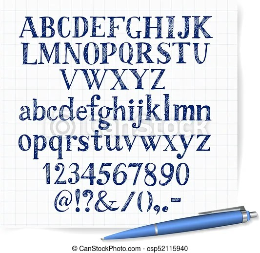Hand drawn blue pen sketch font on lined paper background