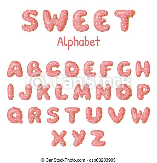 Hand drawn donut letters pink donuts abc fun alphabet vector