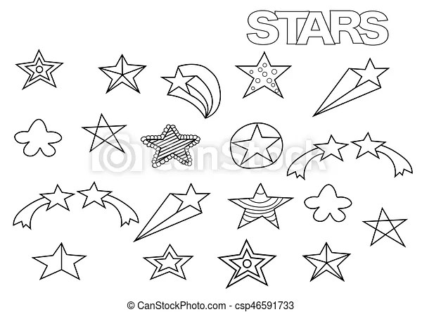 Hand drawn stars set coloring book page template outline - stars template
