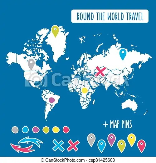 Hand drawn world map with pins and arrows vector design cartoon