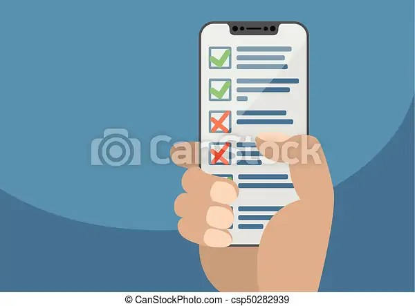 Hand holding modern bezel free smartphone with checklist or task