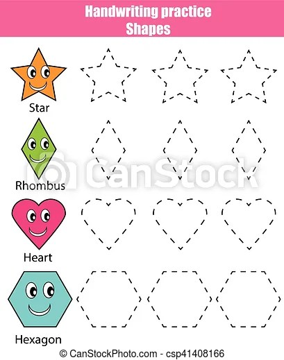 Handwriting practice sheet educational children game, kids activity