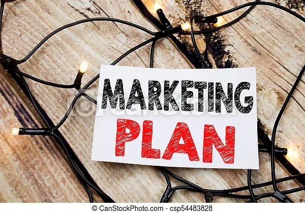 Handwritten text caption showing marketing plan business concept
