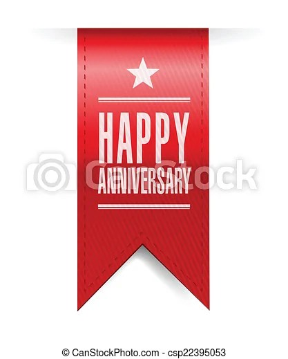 Happy anniversary banner illustration design over a white background