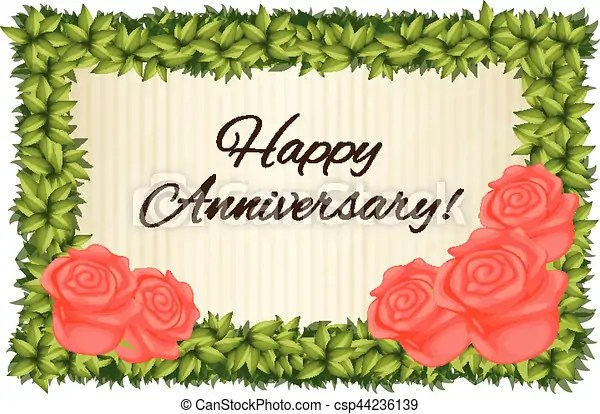 Happy anniversary card template with red roses illustration