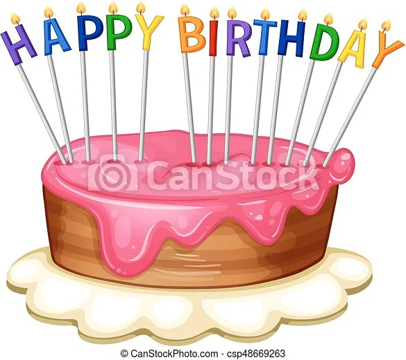 Happy birthday card template with pink cake illustration clip art
