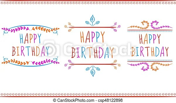 Happy birthday card templates vector labels multicolor letters on