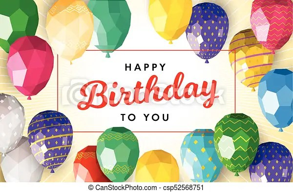 Happy birthday greeting card template with modern low clipart