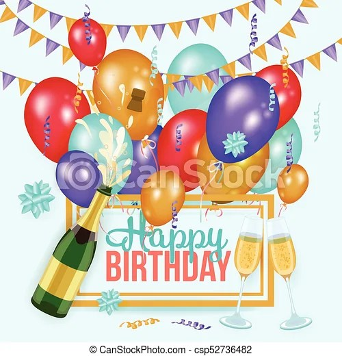 Happy birthday greeting card template, champagne Happy birthday