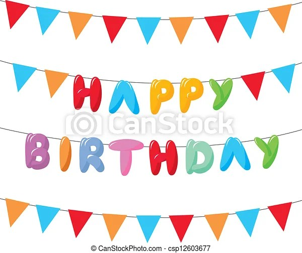 Happy birthday with hanging flags for cards, banners and vectors