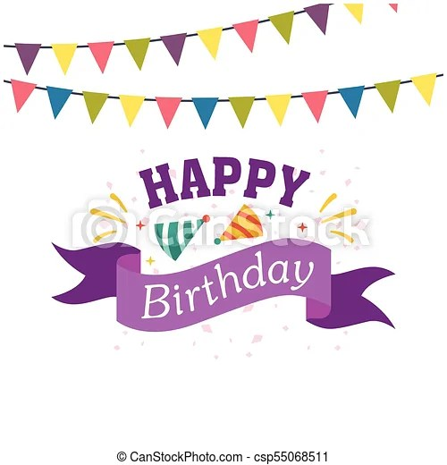 Happy birthday ribbon flag party hat background vector image