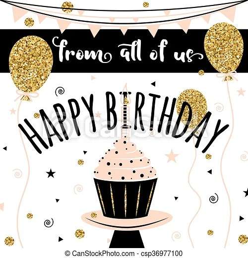 Happy birthday vector card background with golden balloons