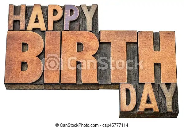 Happy birthday word abstract in wood type Happy birthday stock