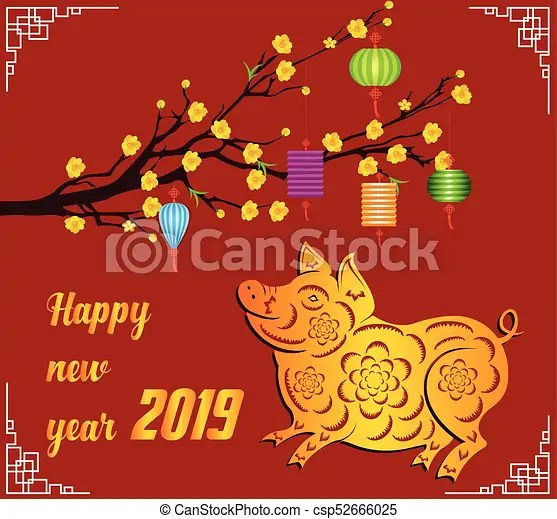 Happy chinese new year 2019 year of the pig lunar new year