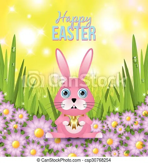 Happy easter card template on yellow glittering sky background