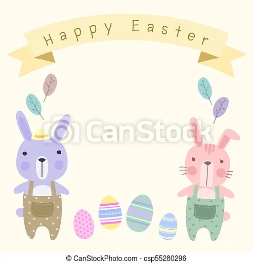 Happy easter card template with pastel cute couple bunny Happy
