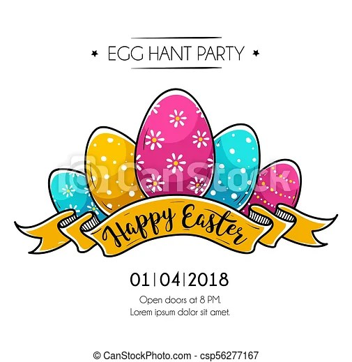Happy easter poster with easter eggs Happy easter poster with