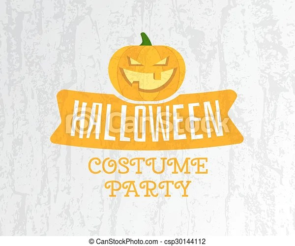 Happy halloween costume party flyer template - orange and white
