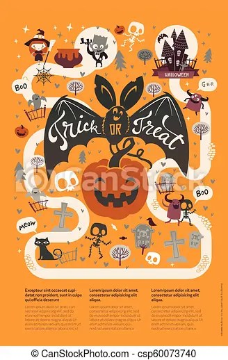 Happy halloween flyer template in a flat style with funny and spooky