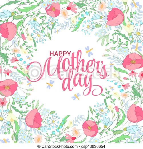 Happy mothers day card bright spring concept illustration with - mother s day cards