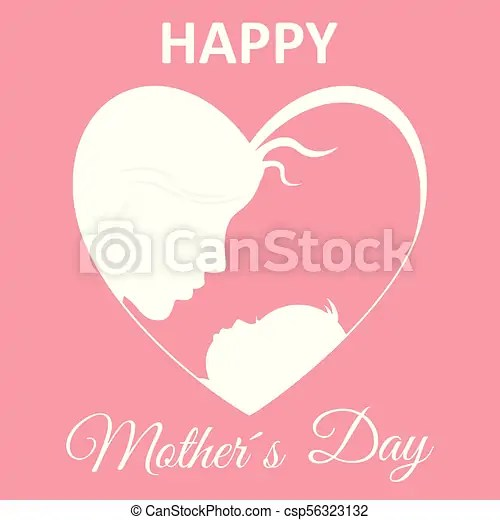 Happy mother\u0027s day card mom and baby inside a heart vectors