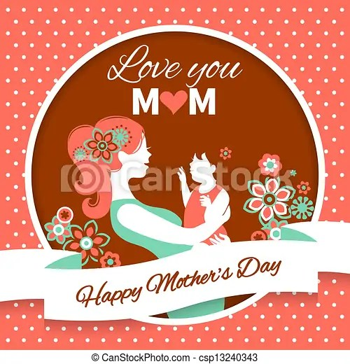 Happy mother\u0027s day card with beautiful silhouette of mother and